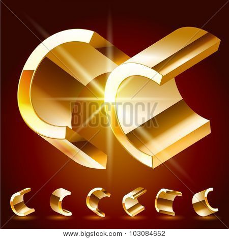 3D vector deluxe alphabet of randomly rotated thin golden symbols. All symbols in set have 8 random points of view. Letter C