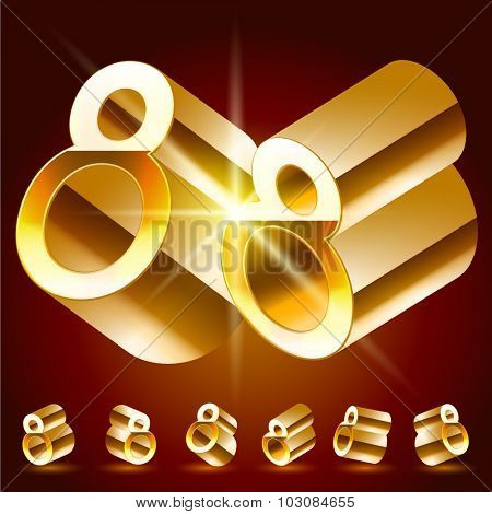 3D vector deluxe alphabet of randomly rotated thin golden symbols. All symbols in set have 8 random points of view. Number 8