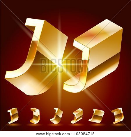 3D vector deluxe alphabet of randomly rotated thin golden symbols. All symbols in set have 8 random points of view. Letter J