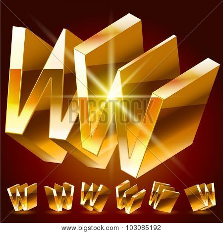 3D vector deluxe alphabet of randomly rotated thin golden symbols. All symbols in set have 8 random points of view. Letter W