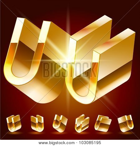 3D vector deluxe alphabet of randomly rotated thin golden symbols. All symbols in set have 8 random points of view. Letter U