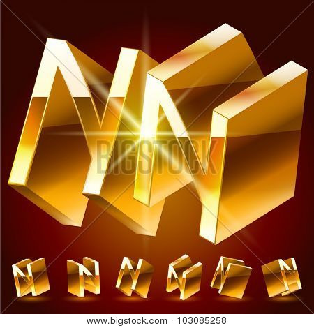 3D vector deluxe alphabet of randomly rotated thin golden symbols. All symbols in set have 8 random points of view. Letter N