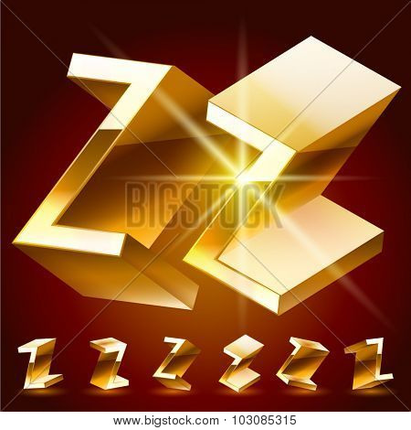 3D vector deluxe alphabet of randomly rotated thin golden symbols. All symbols in set have 8 random points of view. Letter Z