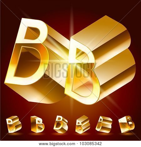 3D vector deluxe alphabet of randomly rotated thin golden symbols. All symbols in set have 8 random points of view. Letter B