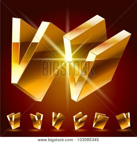 3D vector deluxe alphabet of randomly rotated thin golden symbols. All symbols in set have 8 random points of view. Letter V