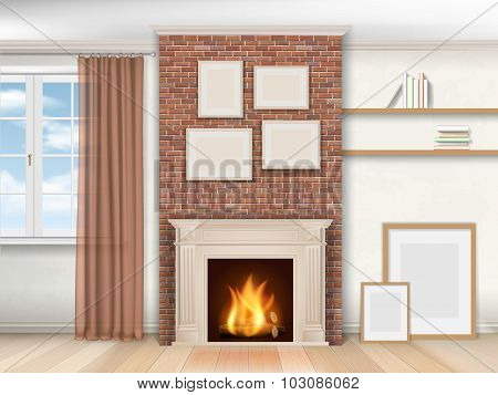 Interior With Fireplace And Window