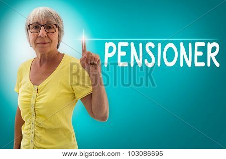 Pension Touchscreen Is Shown By Senior Woman Concept