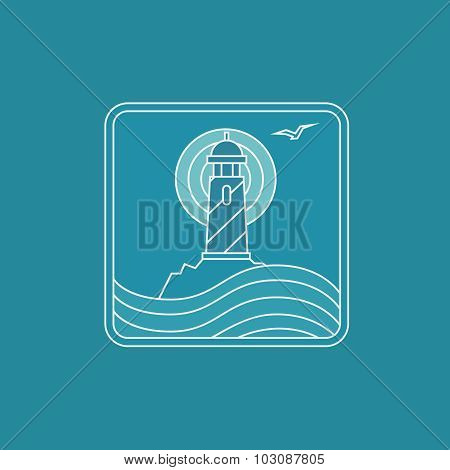lighthouse logo design template in trendy linear style - abstract emblem and badge , navigational or