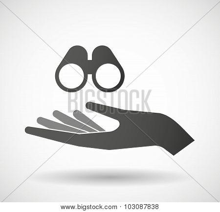 Isolated Hand Giving A Binoculars