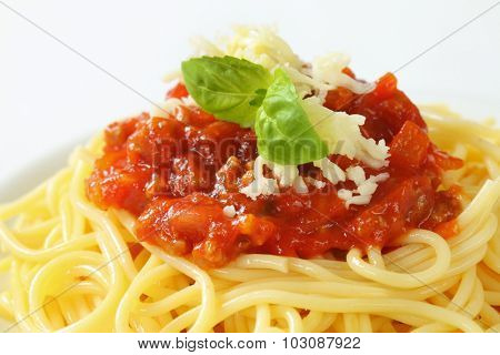 detail of boiled spaghetti with bolognese sauce and grated cheese, decorated with leaves of fresh basil