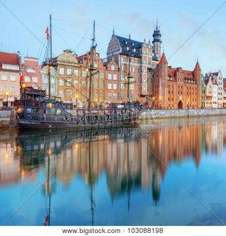Central quay of Gdansk, Poland