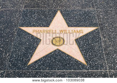 Los Angeles - 21 March, 2015: Star Of Pharrel Williams On The Walk Of Fame In Hollywood California