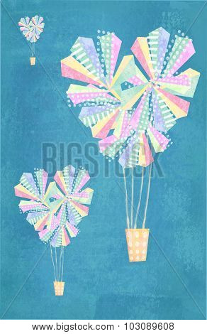 Love Card. Abstract Heart Shaped Hot Air Balloons Background.