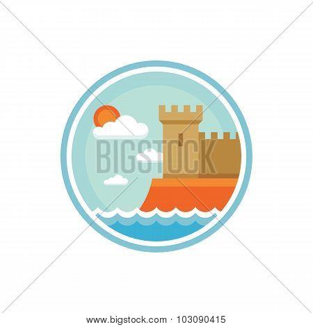 Castle - vector logo concept illustration. Tower - vector logo creative illustration in flat style.