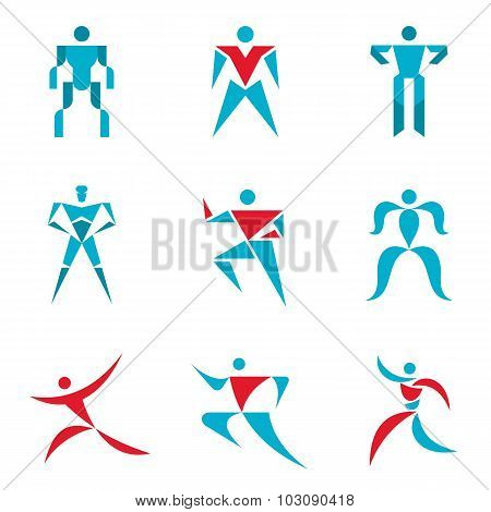 People signs - creative vector collection. Human figures - vector icons set. Human vector logo.