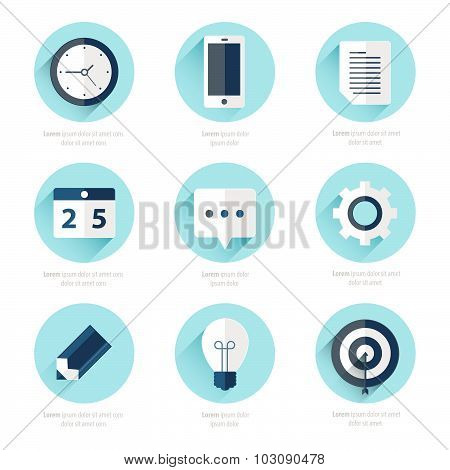 Business Set Of Flat Design Icons Blue Color Style
