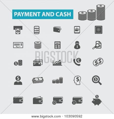 payment, cash, coins, banknotes icons
