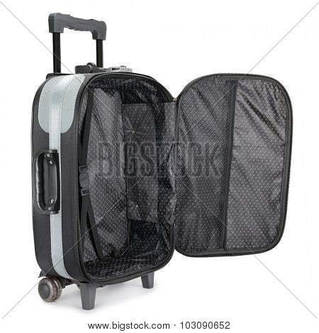 black suitcase isolated on white