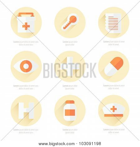 Flat Icons Set Of Medical Tools 2 Color