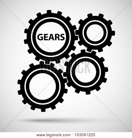 black toothed gears (cogs) is meshed on gray background. vector illustration eps10