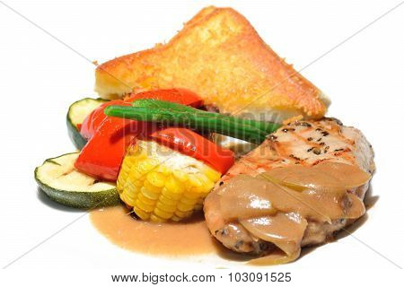 Fresh Steak Pork Loin Roast With Apple Sauce On White Background