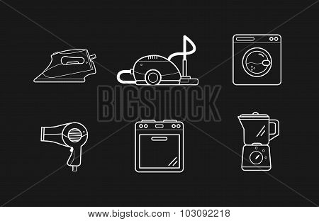 Line icons of home appliances, household cooking cleaning devices