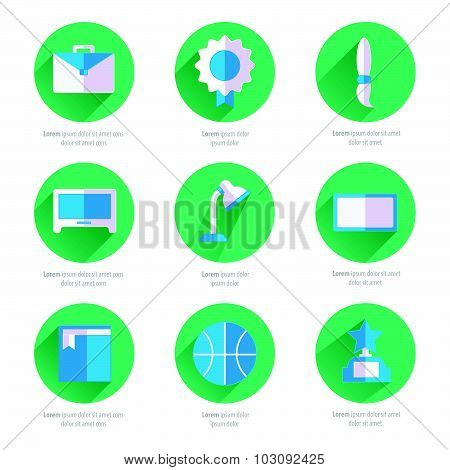 Set Of Flat School And Education Icons Set 2 Color