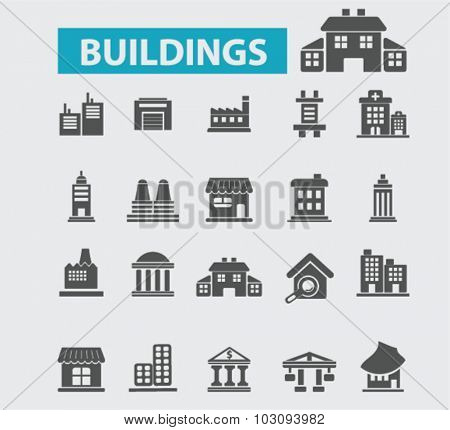 buildings, houses icons