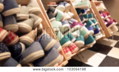 Defocus And Blur Image Of Shoe Store With Blur Background