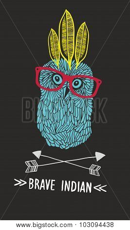 Cute doodle owl with feathers and arrows.