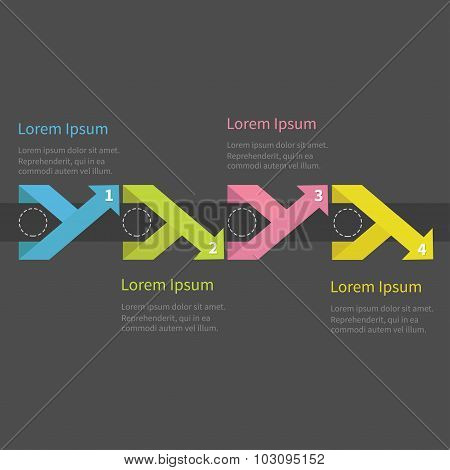 Infographic Five Step  With Ribbon Up Down Arrow Dashed Circle And Text. Template. Dark Background T