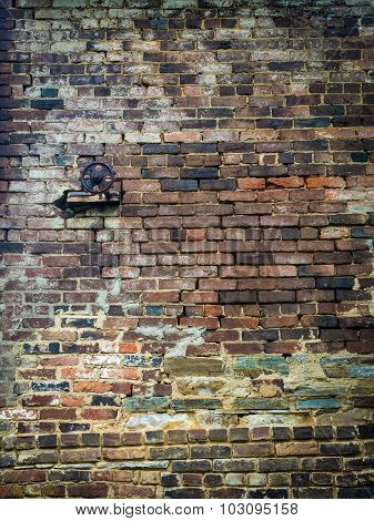 Brick Mill Wall with Small Gear at Upper Left