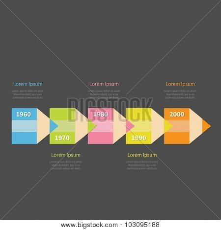Colorful Pencil Arrow 5 Step Timeline Infographic And Text. Template. Dark Background Flat Design.