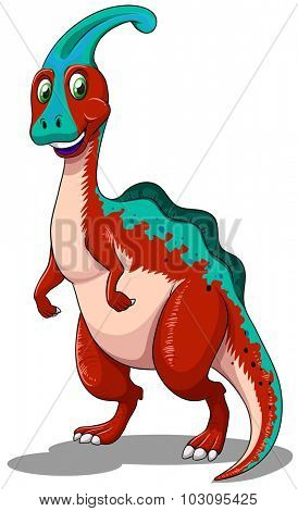 Red parasaurolophus  standing on two legs illustration
