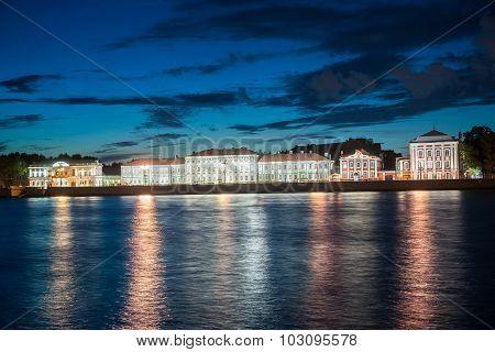 Beautiful night view of Vasilievsky island in Saint-Petersburg,