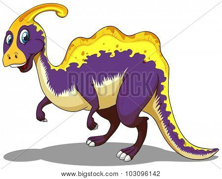 Purple parasaurolophus  standing alone illustration