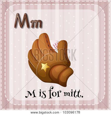 Flashcard letter M is for mitt illustration