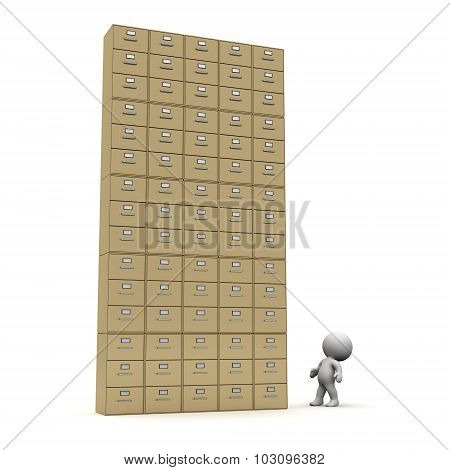 3D Character Looking Up At Large Archiving Cabinet