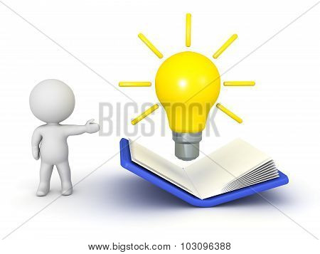 3D Character Showing Open Book And Idea Light Bulb