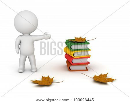 3D Character Showing Small Stack Of Colorful Books And Autumn Leaves
