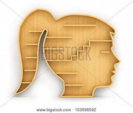 Concept Of Training. Empty Bookshelf In Form Of Woman Head. Science About Human. Psychology. A Human