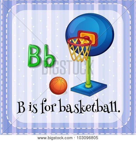 Flashcard letter B is for basketball illustration