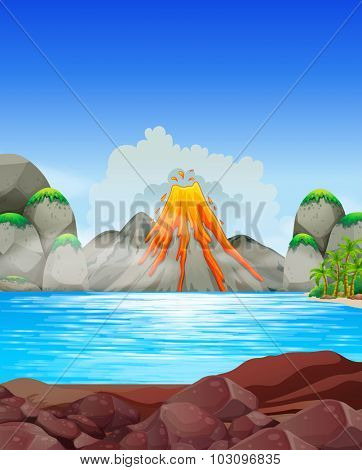 Volcano eruption at the lake illustration