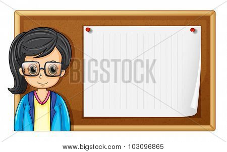Woman with glasses and board illustration