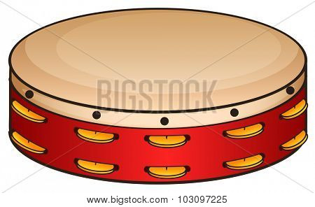 Red tambourine on white illustration