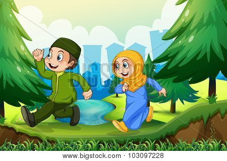 Muslim boy and girl in the park illustration