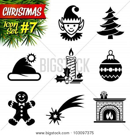 Set Of Black-and-white Christmas Icons