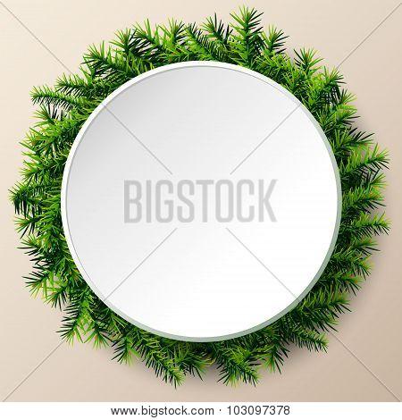 Empty Round Frame Of Christmas Tree Twigs