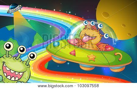 Monster riding in UFO  illustration