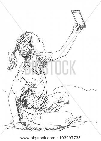 Woman with tablet, Hand drawn illustration, Vector sketch